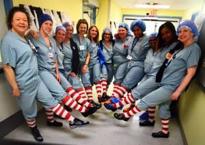 Nurses wearing socks