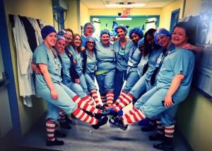 Children's Hospital employees wearing socks